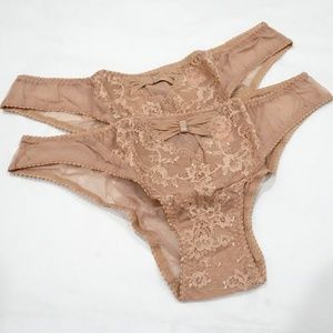 Victoria's Secret Set of 2 Beige Lace Cheekinis
